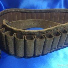 Antigüedades: CARTUCHERA DE CUERO 115X7.5CM. Lote 161720090
