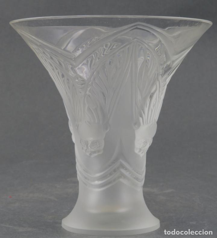 VASO HOJAS EN VIDRIO PRENSADO CRISTAL GLACE TALLADO LALIQUE FRANCIA PRINCIPIOS SIGLO XX (Antigüedades - Cristal y Vidrio - Lalique )