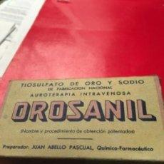 Antigüedades: CAJA DE OROSANIL. TIOSULFATO DE ORO Y SODIO. COMPLETA Y PRECINTADA. Lote 162353112