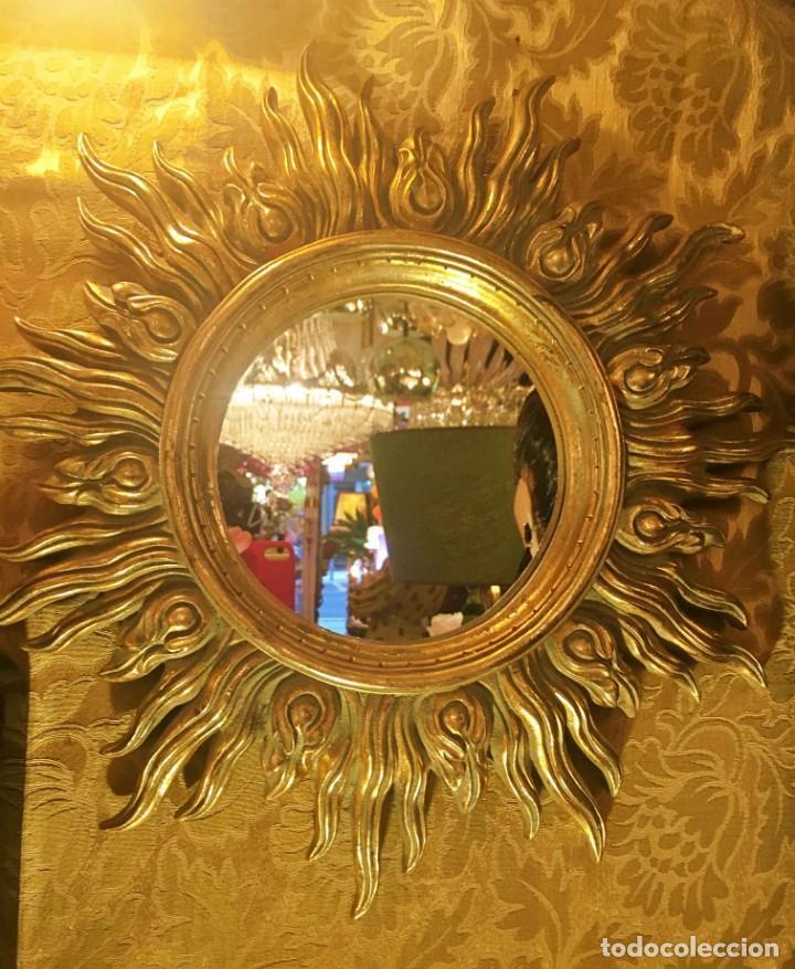 Antigüedades: ESPEJO FORMATO SOL - Foto 4 - 161850966