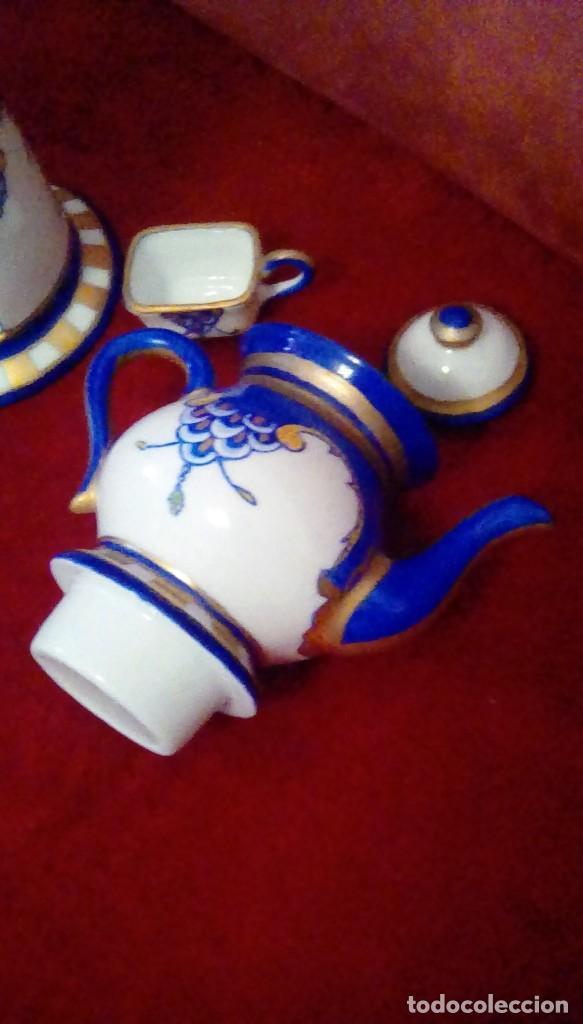 Antigüedades: Antigua cafetera con calentador de vela y taza para crema. Porcelana Limoges France. - Foto 2 - 161864066