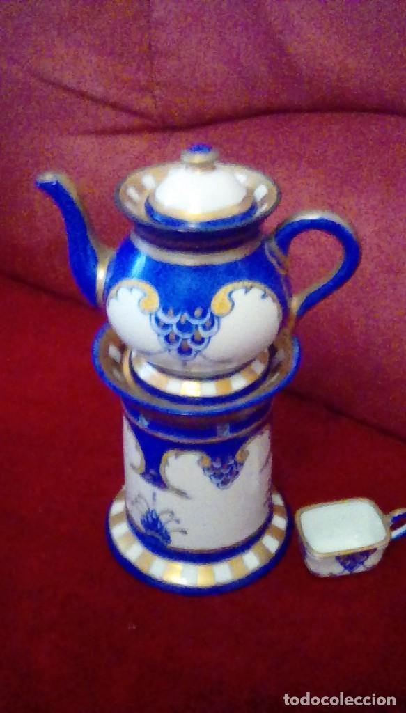 Antigüedades: Antigua cafetera con calentador de vela y taza para crema. Porcelana Limoges France. - Foto 4 - 161864066