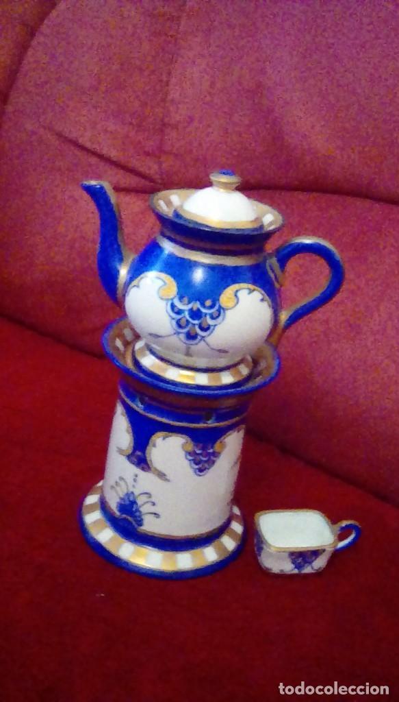 Antigüedades: Antigua cafetera con calentador de vela y taza para crema. Porcelana Limoges France. - Foto 5 - 161864066