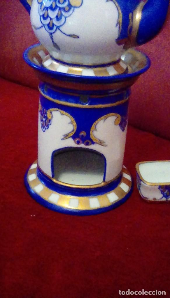 Antigüedades: Antigua cafetera con calentador de vela y taza para crema. Porcelana Limoges France. - Foto 9 - 161864066