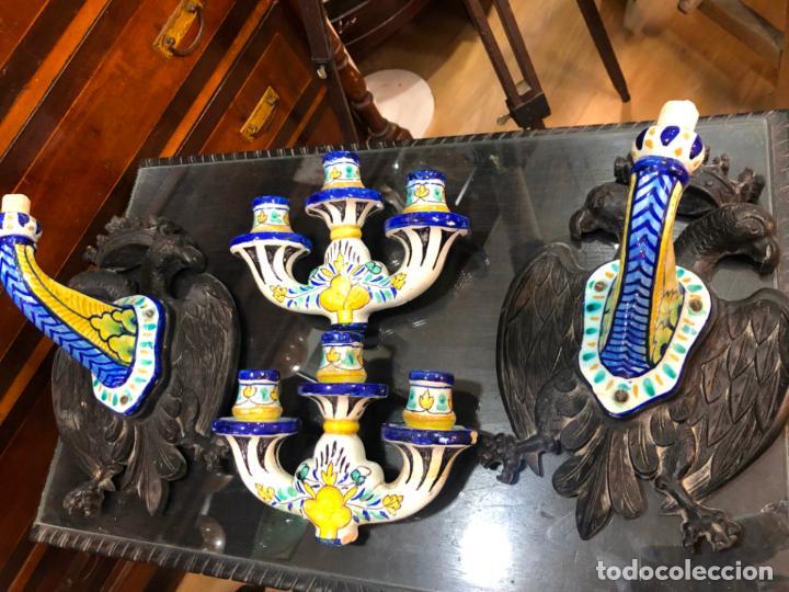 Antigüedades: MAGNIFICA PAREJA DE APLIQUE CANDELABROS MADERA TALLADA Y CERAMICA TALAVERA DE PRINCIPIO SIGLO XX - Foto 35 - 161876558