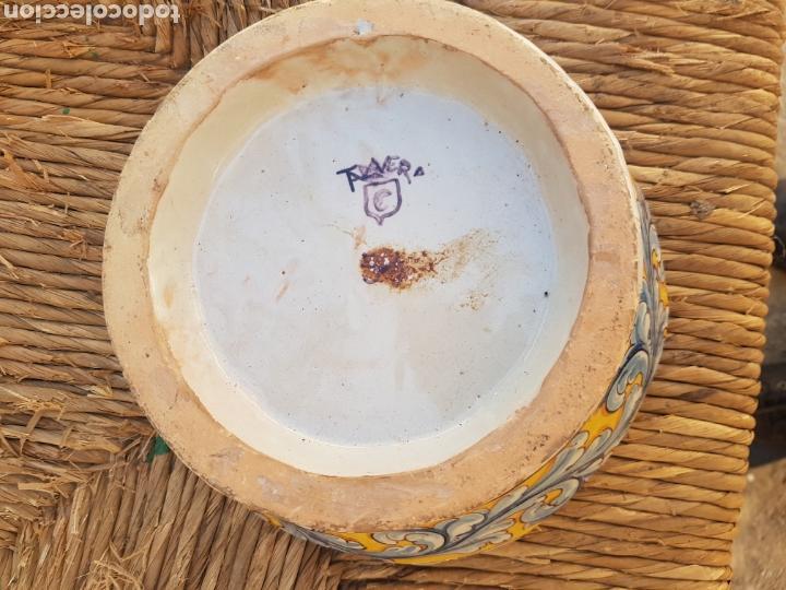 Antigüedades: Base jarrón grande de Talavera doble firma Ruiz de Luna - Foto 2 - 161880074