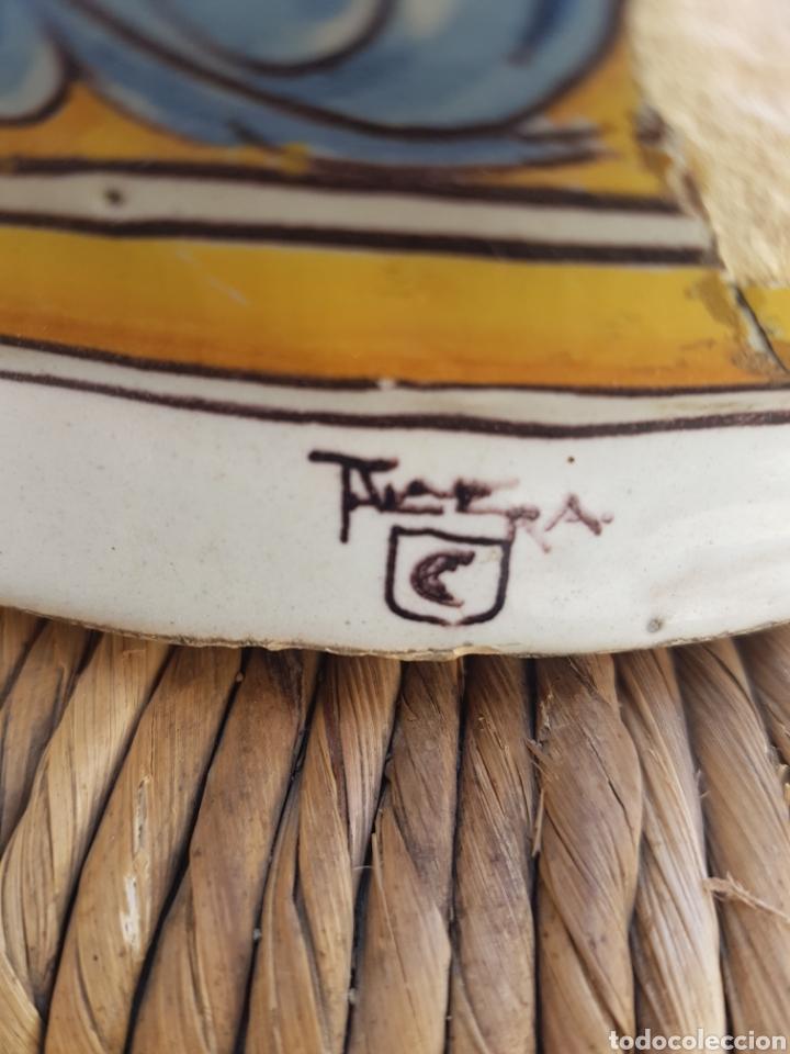 Antigüedades: Base jarrón grande de Talavera doble firma Ruiz de Luna - Foto 3 - 161880074
