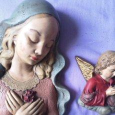 Antigüedades: MARÍA Y ANGEL EN YESO. Lote 161890326