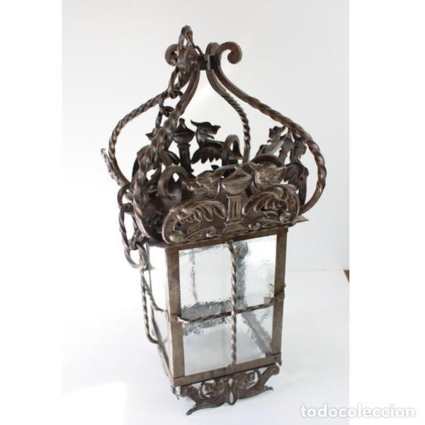 ANTIGUO FAROL DE FORJA (Antigüedades - Iluminación - Faroles Antiguos)