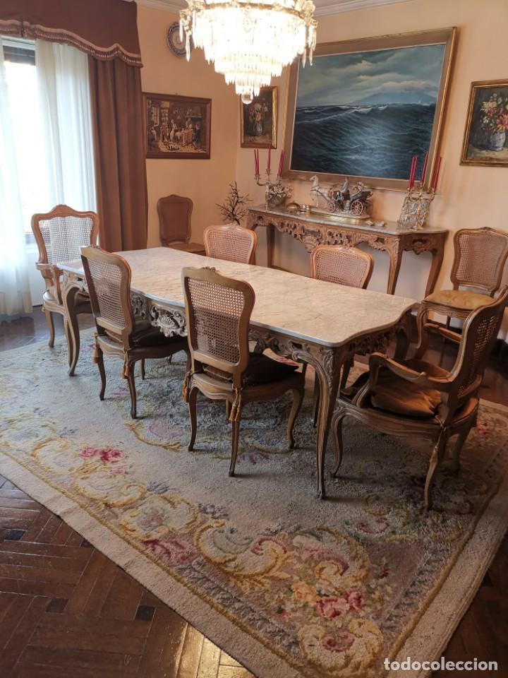 conjunto comedor, mesa de mármol y madera con 8 - Kaufen Antike ...