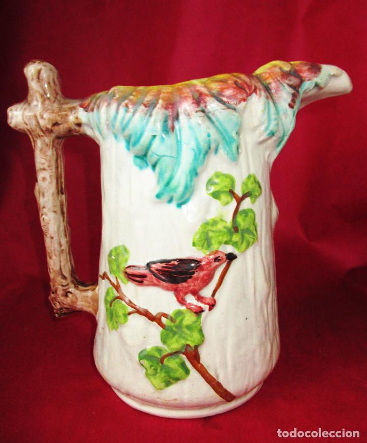 PRECIOSA GRAN JARRA EN CERAMICA VALENCIANA MANISES MODERNISTA CARDANERA PAJARITO (Antigüedades - Porcelanas y Cerámicas - Manises)