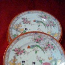 Antigüedades: LOTE DE 3 PLATOS DE PORCELANA JAPONESA.PINTADOS A MANO.. Lote 161956330