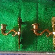Antigüedades: PAREJA DE APLIQUES EN BRONCE / METAL DORADO. Lote 161977018