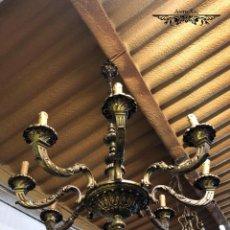 Antigüedades: ANTIGUA LAMPARA DE BRONCE DE 8 BRAZOS. Lote 161989670