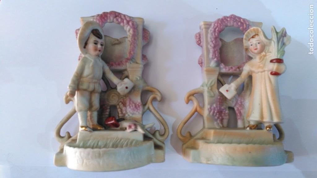 PORCELANA BISCUIT. PAREJA (Antigüedades - Porcelanas y Cerámicas - Otras)