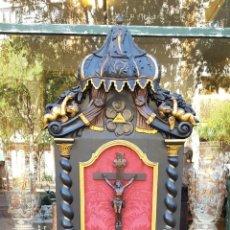 Antigüedades: GRAN RECLINATORIO. MADERA TALLADA. POLICROMADA. ESTILO BARROCO. ESPAÑA. SIGLO XIX.. Lote 162012410