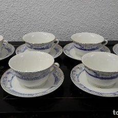 Antigüedades: JUEGO DE 6 TAZAS CONSOME O CAFE CON LECHE, CERAMICA DE SAN CLAUDIO VIGO, MEDIDA TAZA 7X12 CM. . Lote 162033270