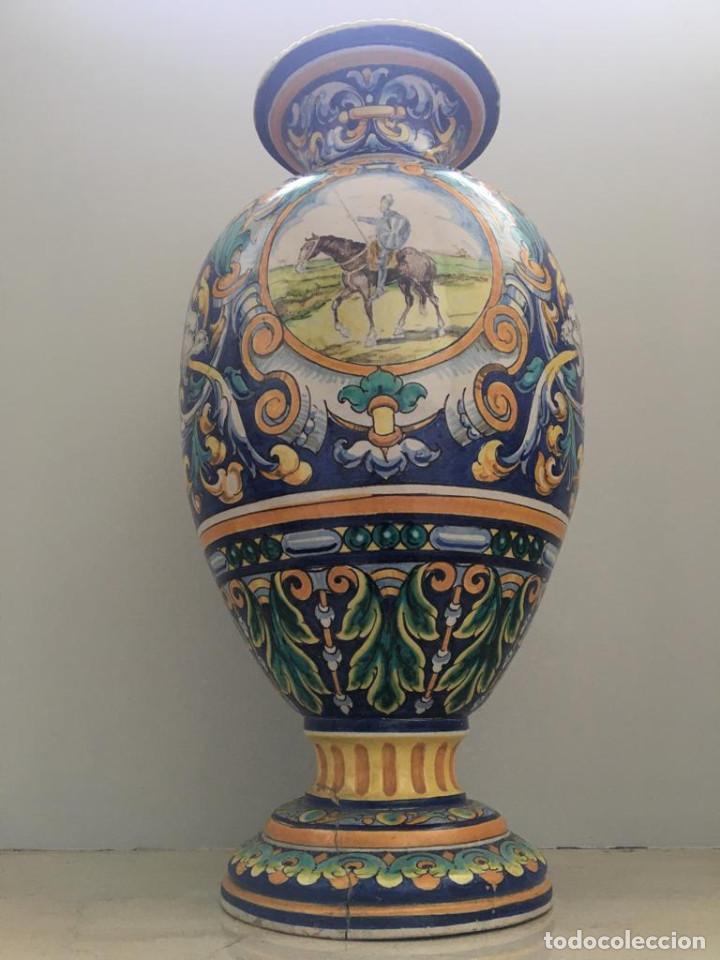Antigüedades: ESPECTACULAR TINAJA, JARRON, DE MUSEO, RAMOS REJANO, DE TRIANA CON DON QUIJOTE DE LA MANCHA(SEVILLA) - Foto 2 - 162106170