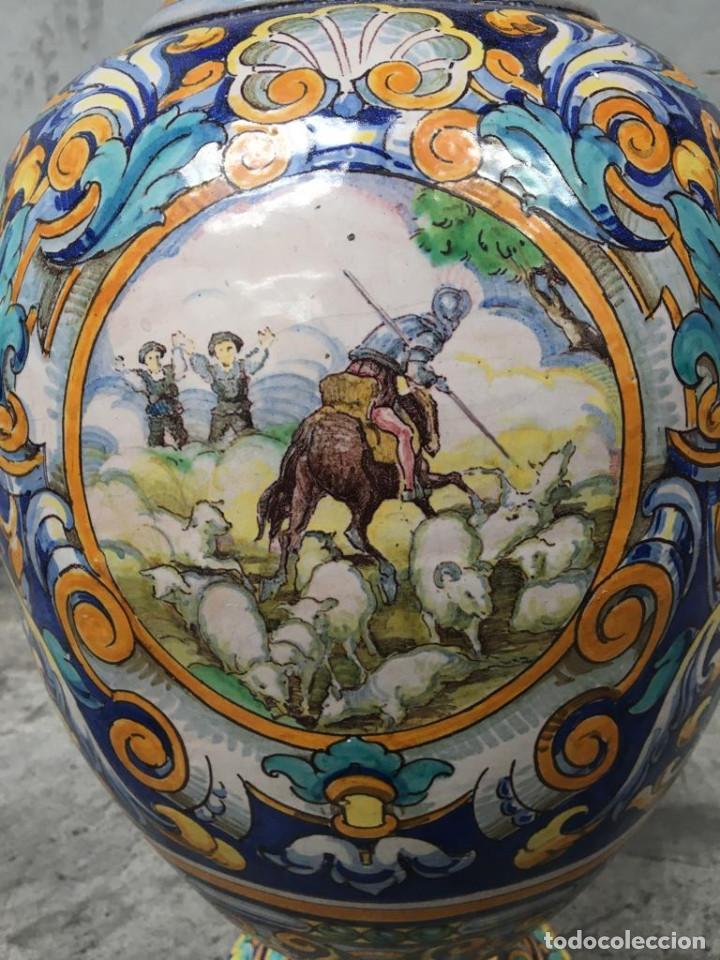 Antigüedades: ESPECTACULAR TINAJA, JARRON, DE MUSEO, RAMOS REJANO, DE TRIANA CON DON QUIJOTE DE LA MANCHA(SEVILLA) - Foto 25 - 162106170