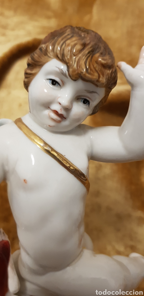 Antigüedades: Angel angelito angelote de porcelana 24 cm de altura Algora o Hispania - Foto 8 - 162106753