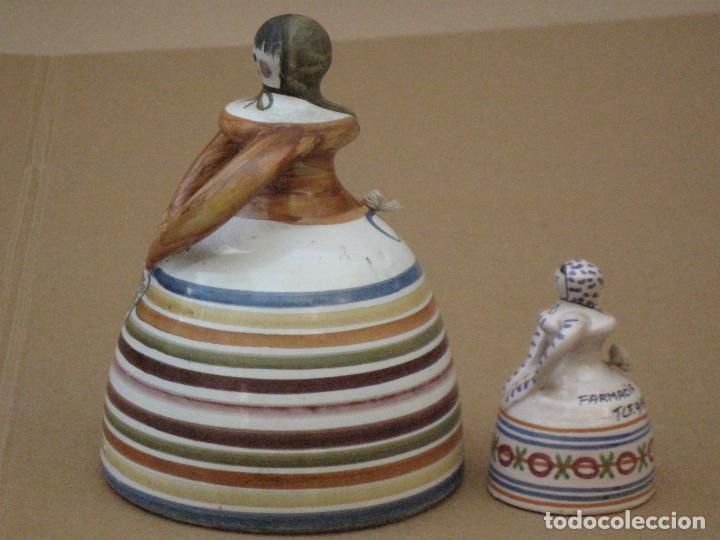 Antigüedades: LOTE DE DE DOS CAMPANILLAS EN CERAMICA PINTADA Y VIDRIADA DE TALAVERA ( TOLEDO ) - Foto 2 - 162112398