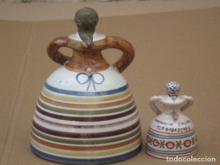 Antigüedades: LOTE DE DE DOS CAMPANILLAS EN CERAMICA PINTADA Y VIDRIADA DE TALAVERA ( TOLEDO ) - Foto 3 - 162112398