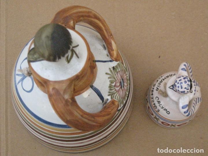 Antigüedades: LOTE DE DE DOS CAMPANILLAS EN CERAMICA PINTADA Y VIDRIADA DE TALAVERA ( TOLEDO ) - Foto 5 - 162112398