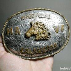 Antigüedades: HEBILLA ALPACA LABRADA DE MARIACHI CALAVERAS -MEXICO -MEJICO AÑOS 50 ORIGINAL-RODEO -COWBOY-CABALLO-. Lote 162129602