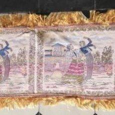 Antigüedades: CHALS O MANTONCILLO MANTON BROCADO ESTAMPADO CON ESCENAS DE BAILE RECTANGULAR SEDINA Y FLECOS LEER. Lote 162141990