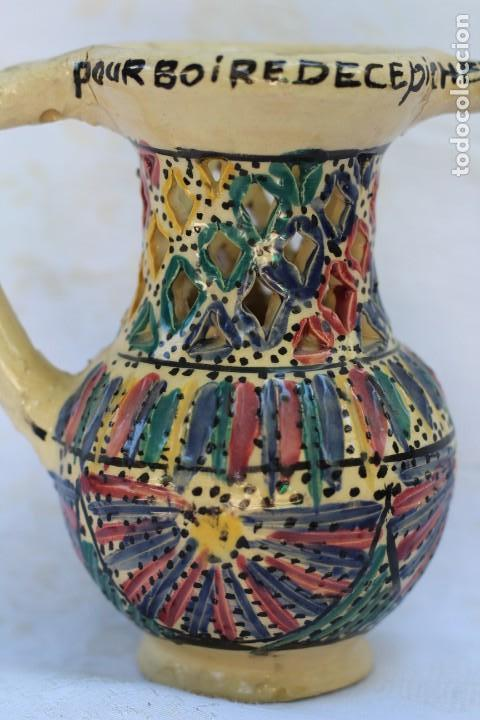ANTIGUA JARRA CERÁMICA DE ENGAÑO DE FRANCIA (Antigüedades - Porcelana y Cerámica - Francesa - Limoges)
