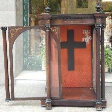 Antigüedades: HORNACINA. MADERA DE TROPICAL CON INCRUSTACIONES. ESTILO ISABELINO. ESPAÑA. SIGLO XIX.. Lote 162237626