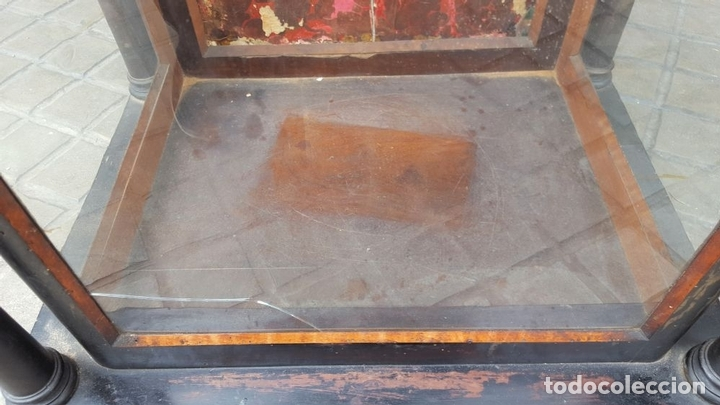 Antigüedades: HORNACINA PARA IMAGEN. MADERA EBONIZADA. ESTILO ISABELINO. ESPAÑA. SIGLO XIX. - Foto 8 - 162241162