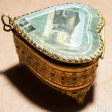 Antigüedades: CAJITA DE BRONCE Y CRISTAL, BARCELONA. Lote 162273226