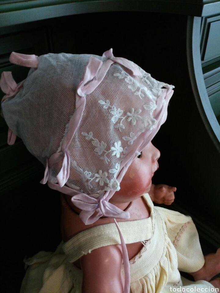 Antigüedades: Gorro de bebe de encaje y seda rosa . Años 1800-1900 - Foto 2 - 162282522