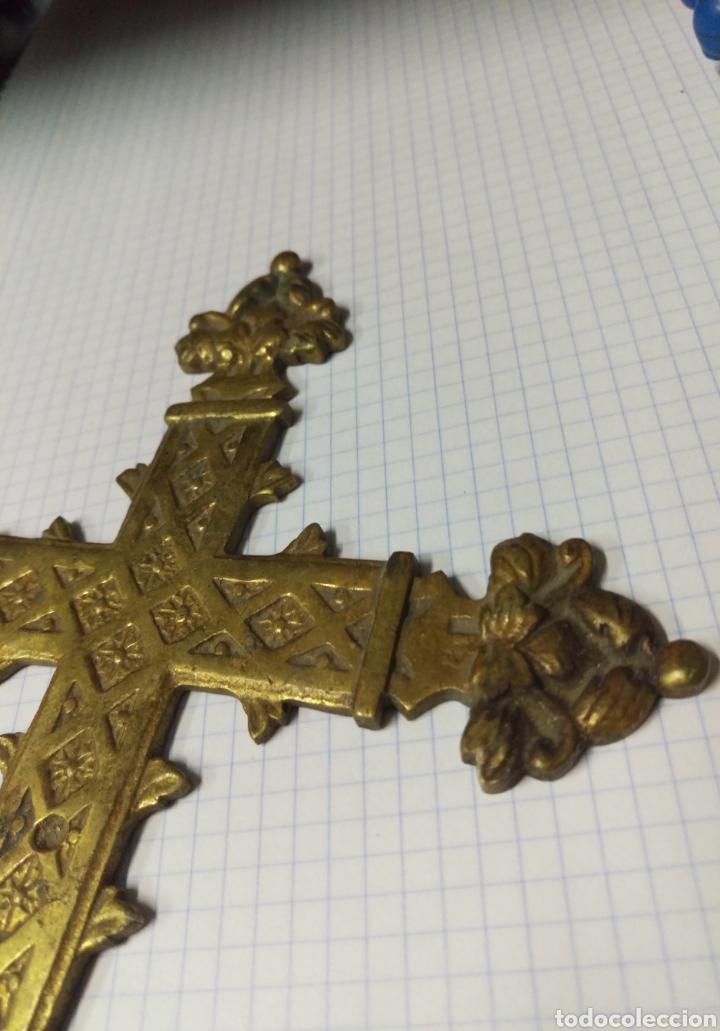 Antigüedades: Tramo cruz procesional bronce - Foto 4 - 162168334