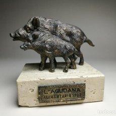 Antigüedades: ESCULTURA PUBLICITARIA - L'AGUDANA 1992 - JABALÍ / JABALÍES - BRONCE Y MÁRMOL-LÉRIDA-CERVERA-CAZA. Lote 162293098