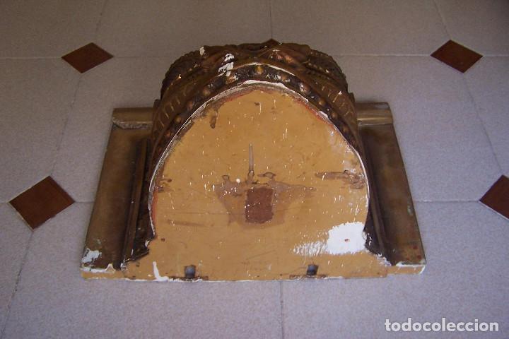 Antigüedades: ANTIGUA MÉNSULA, PEANA DE PARED PARA FIGURA O SIMILAR. ESCAYOLA DORADA- COBRIZA. - Foto 6 - 162299158