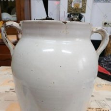 Antigüedades: ENORME ORZA DE CERÁMICA BLANCA VASCA 33X35 CTMS.. Lote 162345058