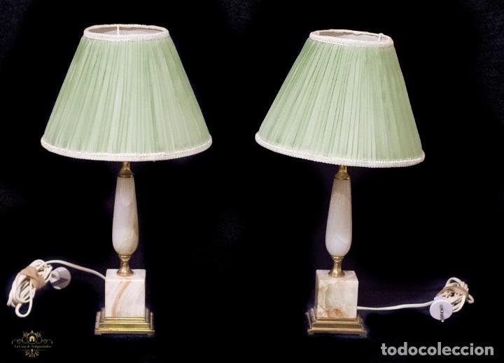 PAREJA DE LAMPARAS CLASICAS ONIX (Antigüedades - Iluminación - Lámparas Antiguas)