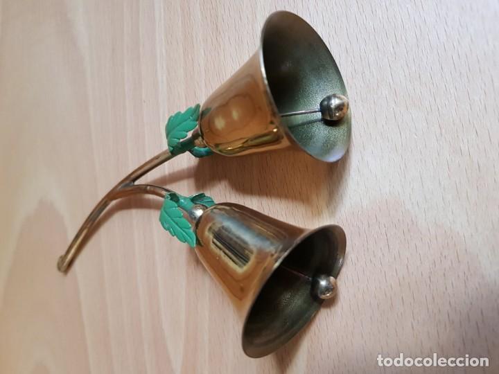 Antigüedades: Llamador de mesa. Campana doble de bronce cromado - Foto 3 - 162394214