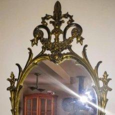 Antigüedades: ESPEJO DE BRONCE MACIZO ANTIGUO. SE GRAN TAMAÑO PARA LA EPOCA. Lote 162464474