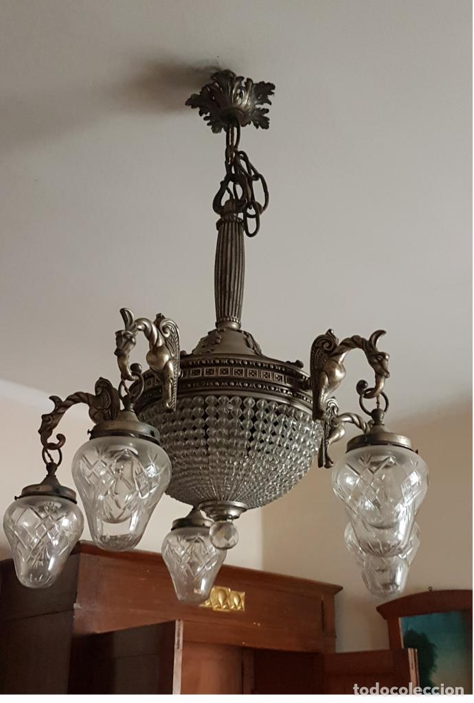 Antigüedades: Lámpara de Techo - Modernista - Bronce y Tulipas Cristal - 6 Luces - Funciona - Años 20 - Foto 3 - 162470906