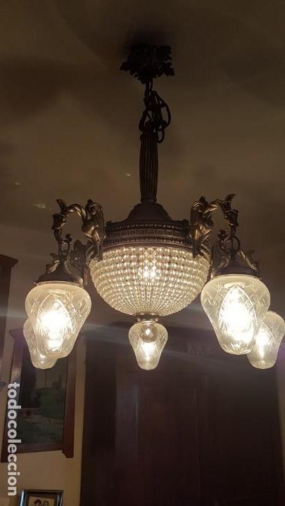 Antigüedades: Lámpara de Techo - Modernista - Bronce y Tulipas Cristal - 6 Luces - Funciona - Años 20 - Foto 4 - 162470906