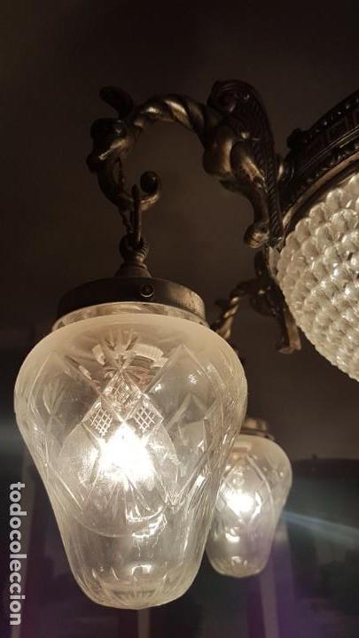 Antigüedades: Lámpara de Techo - Modernista - Bronce y Tulipas Cristal - 6 Luces - Funciona - Años 20 - Foto 5 - 162470906