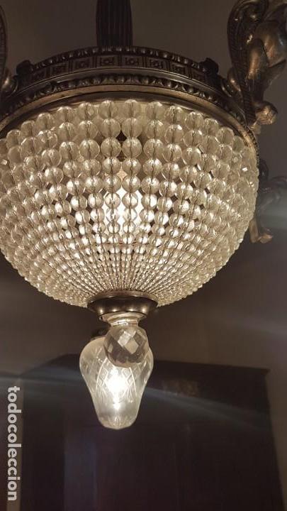 Antigüedades: Lámpara de Techo - Modernista - Bronce y Tulipas Cristal - 6 Luces - Funciona - Años 20 - Foto 6 - 162470906