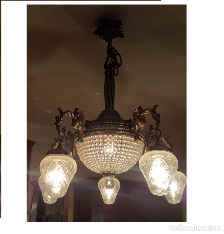 LÁMPARA DE TECHO - MODERNISTA - BRONCE Y TULIPAS CRISTAL - 6 LUCES - FUNCIONA - AÑOS 20 (Antigüedades - Iluminación - Lámparas Antiguas)