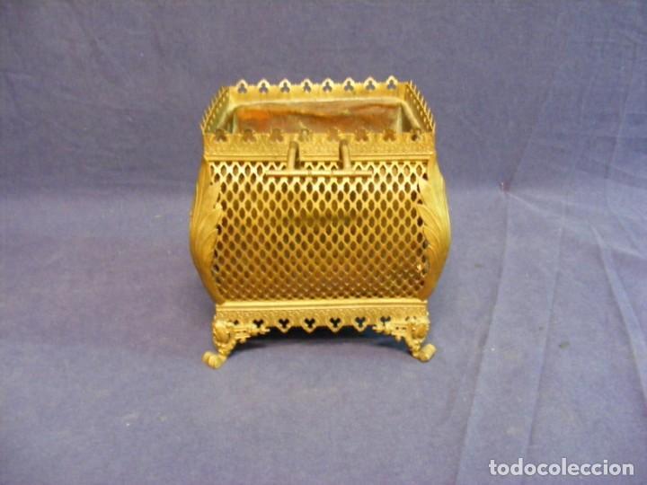 Antigüedades: JARDINERA ANTIGUA EN METAL Y CLOISONNE - Foto 4 - 203519285