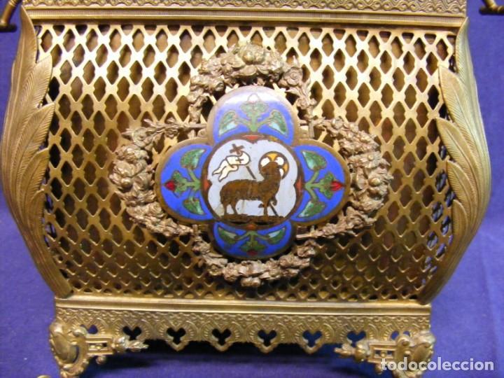 Antigüedades: JARDINERA ANTIGUA EN METAL Y CLOISONNE - Foto 7 - 203519285