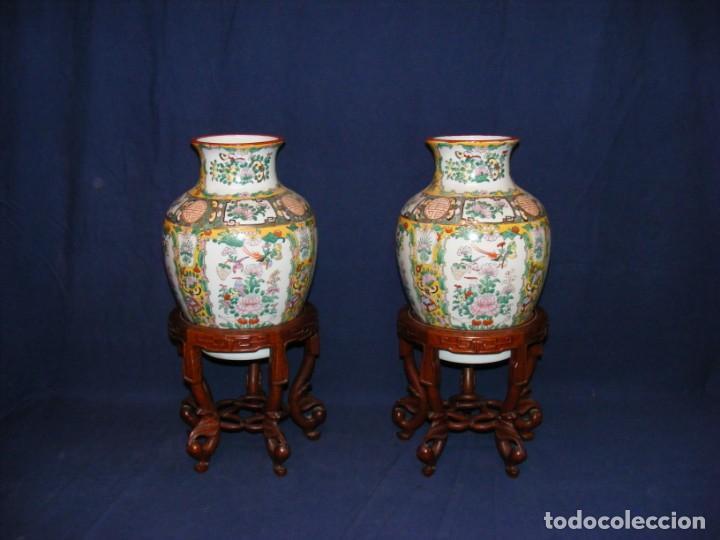 PAREJA DE JARRONES CHINOS PORCELANA (Antigüedades - Porcelanas y Cerámicas - China)