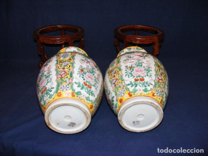Antigüedades: PAREJA DE JARRONES CHINOS PORCELANA - Foto 5 - 162538370